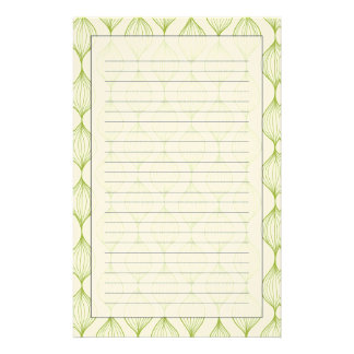 Green vertical ogee pattern background stationery