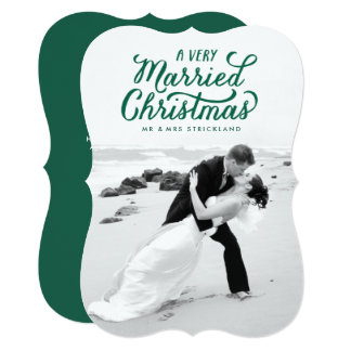 Green Very Married Christmas Newlywed Photo Card