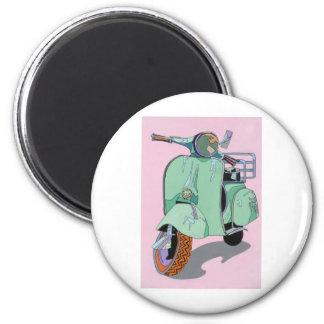 Green Vespa 2 Inch Round Magnet