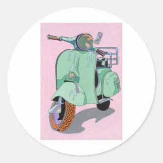 Green Vespa Round Sticker