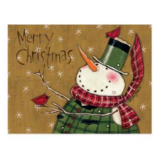 Green Vested Snowman Post Cards