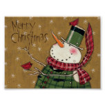 Green Vested Snowman Poster