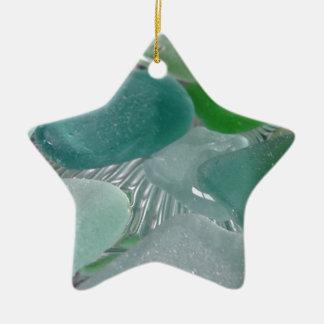 Green Vibrations Green Sea Glass Ceramic Ornament