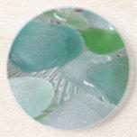 Green Vibrations Green Sea Glass Drink Coasters