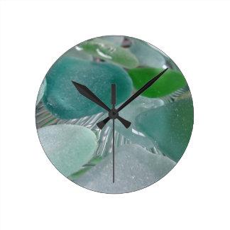 Green Vibrations Green Sea Glass Round Clock