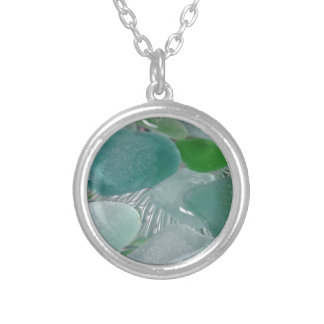 Green Vibrations Green Sea Glass Silver Plated Necklace