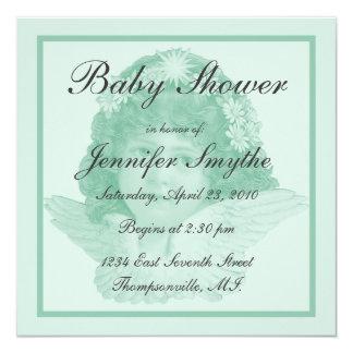 "Green Victorian Angel Baby Shower Invitation 5.25"" Square Invitation Card"
