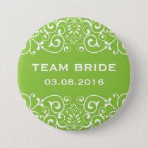 Green Victorian Floral Border Team Bride Button