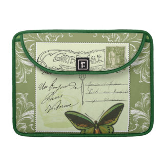 Green victorian French shabby chic collage Sleeve For MacBook Pro