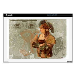 "Green Victorian Steam Punk Lady Eyes Decal For 17"" Laptop"