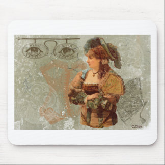 Green Victorian Steam Punk Lady Eyes Mouse Pad