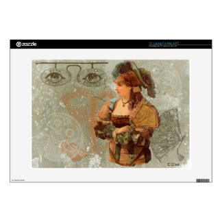 "Green Victorian Steam Punk Lady Eyes Skin For 15"" Laptop"