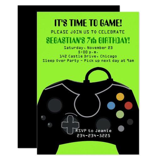 Green Video Game Boys Birthday Invitation