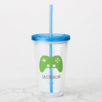 Green Video Game Controller Gamer Personalized Acrylic Tumbler