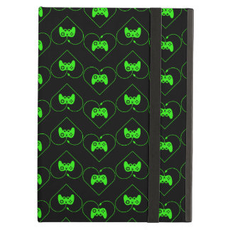 Green Video Game Controller Heart Pattern iPad Air Cases