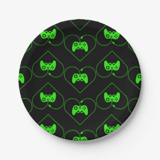 Green Video Game Controller Heart Pattern Paper Plate