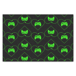 Green Video Game Controller Heart Pattern Tissue Paper