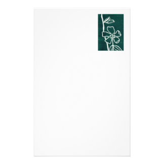 """Green Vinca"" Floral Stationery"