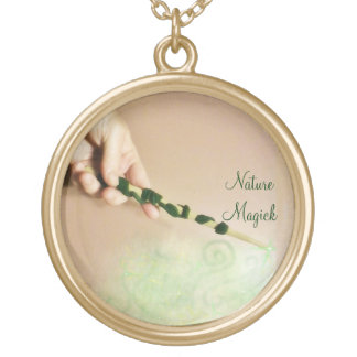 Green Vine and Leaves Witch Wand Gold Plated Necklace