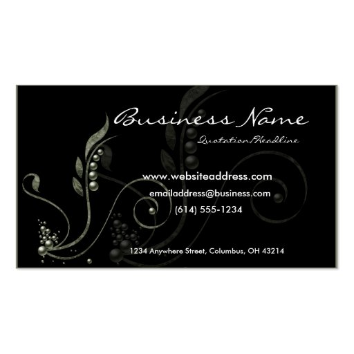 Green Vine Decorative D6 Business Cards
