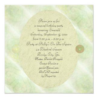 Green Vine Magick Wand Birthday Party Celebration 5.25x5.25 Square Paper Invitation Card