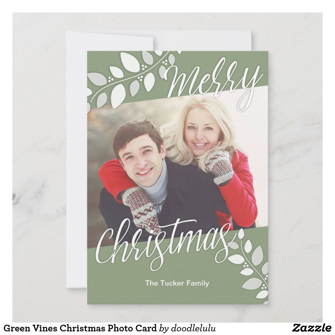 Green Vines Christmas Photo Card