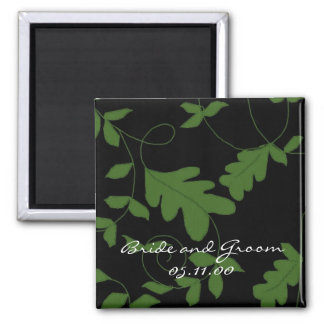 Green Vines on Black Velvet Save the Date Magnet