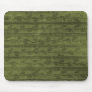 Green Vines & Stripes Pattern Mouse Pad