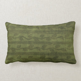 Green Vines & Stripes Pattern Pillow