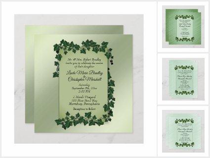 Green Vines Wedding Invitation Suite