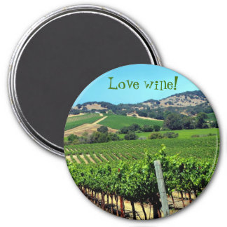 green vineyard photograph 3 inch round magnet