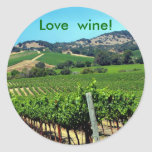 green vineyard photograph classic round sticker
