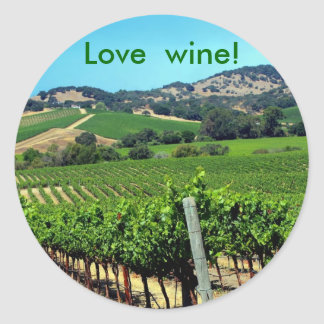 green vineyard photograph classic round sticker