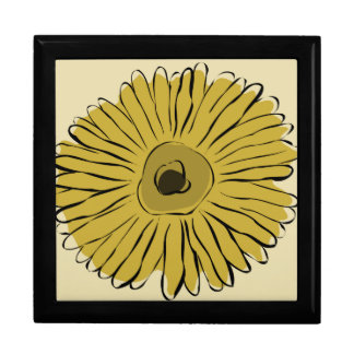 Green vintage abstract sunflower jewelry box