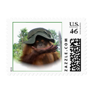 Green Vintage Army Hat Postage Stamps