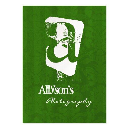 Green Vintage Background Monogram Business Cards