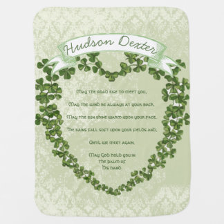 Green Vintage Banner Irish Blessing Clover Heart Stroller Blanket
