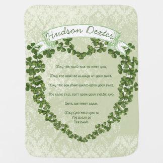 Green Vintage Banner Irish Blessing Clover Heart Receiving Blanket
