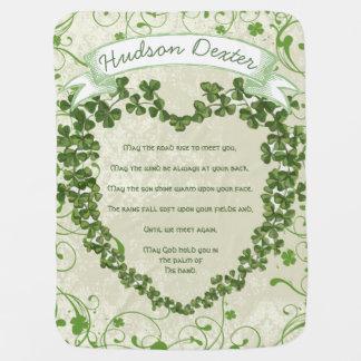 Green Vintage Banner Irish Blessing Clover Heart Stroller Blankets