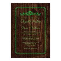 "Green Vintage Barn Wood Wedding Invitations 5"" X 7"" Invitation Card"