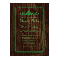 Green Vintage Barn Wood Wedding Invitations Card
