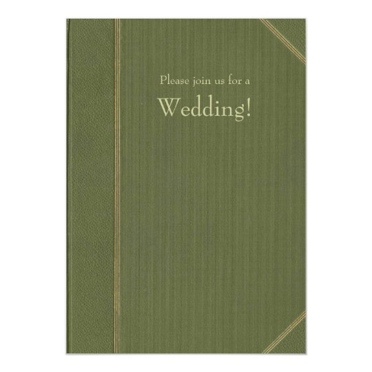 Green Vintage Book Wedding Invitation