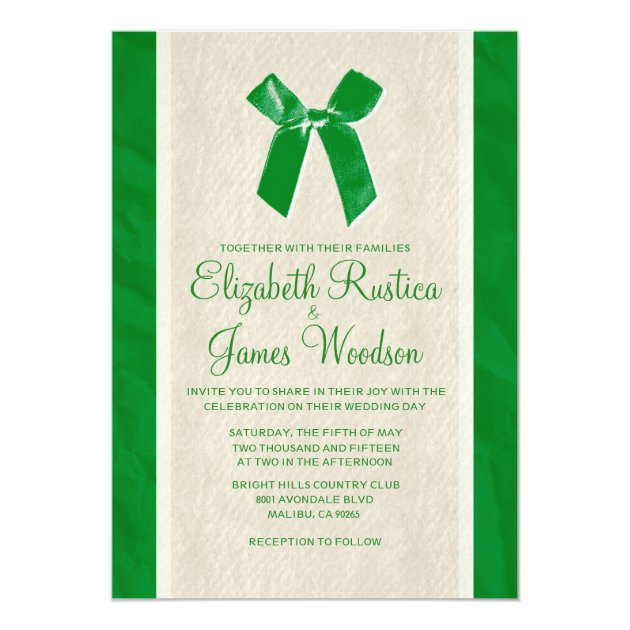 invitation for wedding green vintage bow amp linen wedding invitations zazzle 5165