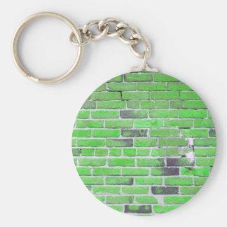 Green Vintage Brick Wall Texture Basic Round Button Keychain