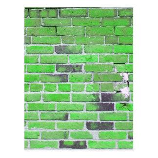 Green Vintage Brick Wall Texture Postcard