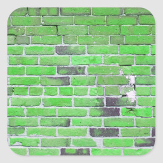 Green Vintage Brick Wall Texture Square Sticker