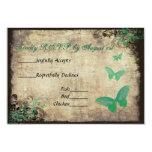 Green Vintage Butterfly Wedding RSVP Card