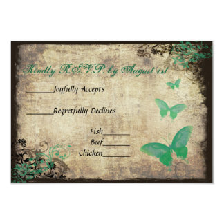 "Green Vintage Butterfly Wedding RSVP Card 3.5"" X 5"" Invitation Card"