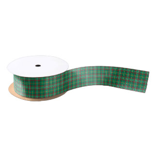 Green Vintage Christmas Plaid Ribbon Satin Ribbon