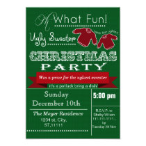 Green vintage Christmas Ugly sweater Party Invites